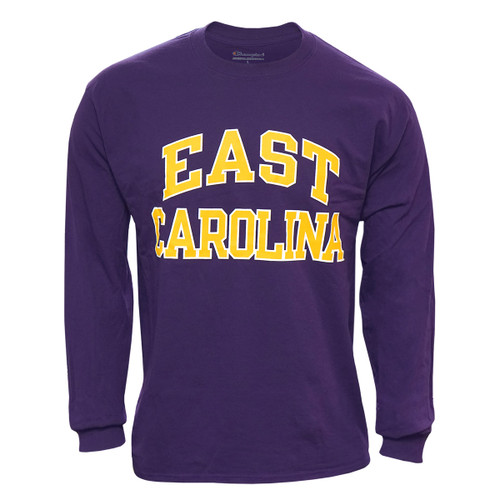 Purple Long Sleeve Gold & White East Carolina Arch Tee