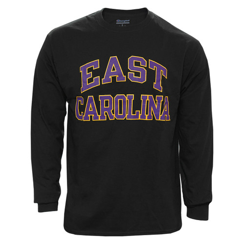 Black Long Sleeve Purple & Gold East Carolina Arch Tee