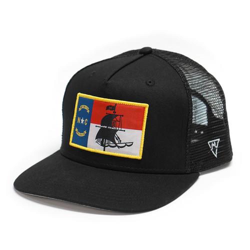 Black Pirate Ship NC Flag Trucker Cap