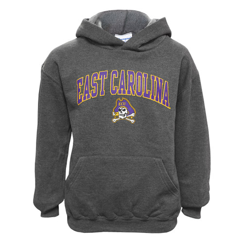 Charcoal Youth East Carolina Jolly Roger Arch Hoodie