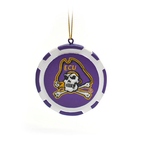 Purple Jolly Roger Game Chip Ornament