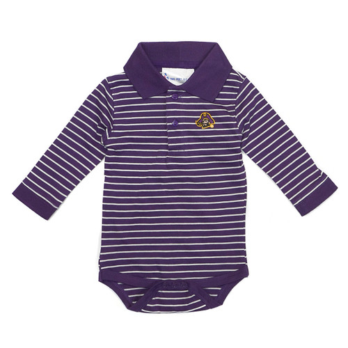 Infant Purple Long Sleeve Pirate Head Onesie Polo