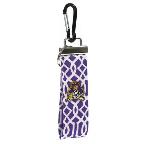 Purple Chainlink Jolly Roger Wristlet Keychain