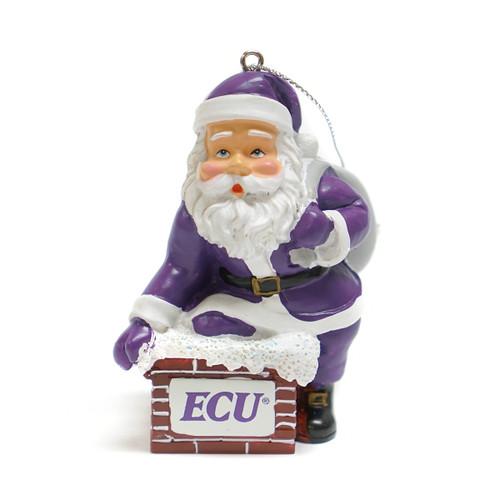 Purple Santa Rooftop ECU Ornament