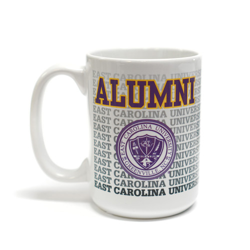 White ECU Repeat Seal & Alumni Coffee Mug
