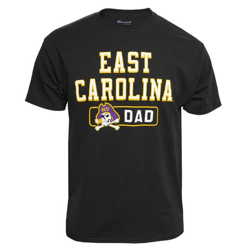 Black East Carolina Jolly Roger Dad Tee