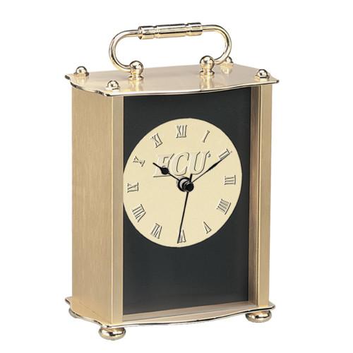 ECU Medallion Brass Case Clock