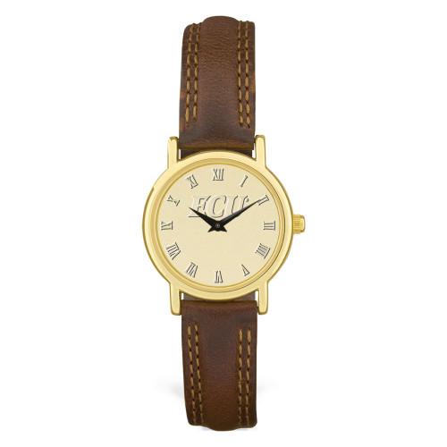 Gold ION & Leather ECU Ladies Wristwatch