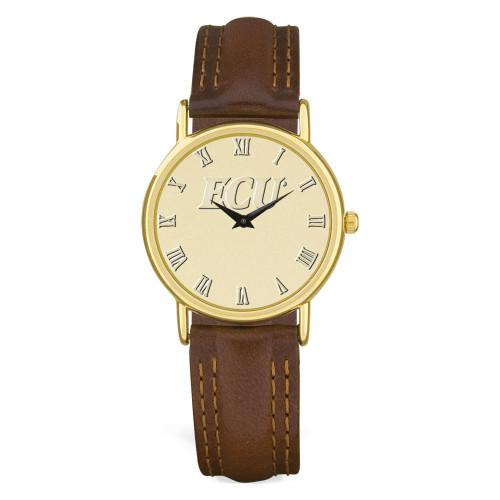 Gold ION & Brown Leather ECU Men's Wristwatch