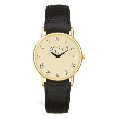 Gold ION & Black Leather ECU Men's Wristwatch