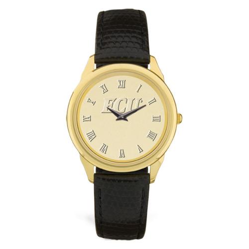 Gold ION & Black Leather ECU Roman Men's Wristwatch