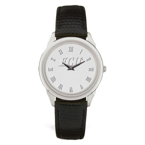 Silver Tone & Black Leather ECU Roman Men's Wristwatch