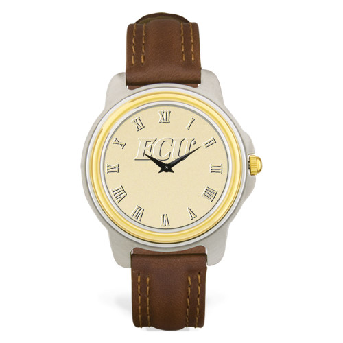 Stainless & Brown Leather Gold Face ECU Men's Wristwatch