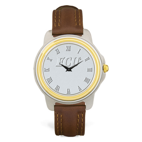 Stainless & Brown Leather Silver Face ECU Men's Wristwatch
