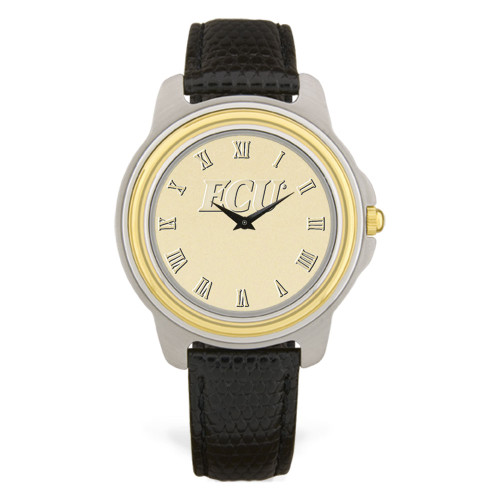 Stainless & Black Leather Gold Face ECU  Men's Wristwatch