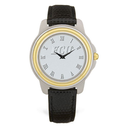 Stainless & Black Leather Silver Face ECU Men's Wristwatch