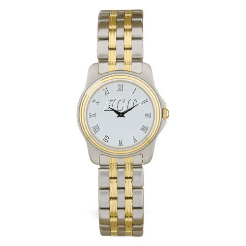 Stainless Two Tone Link Silver Face ECU Ladies Wristwatch