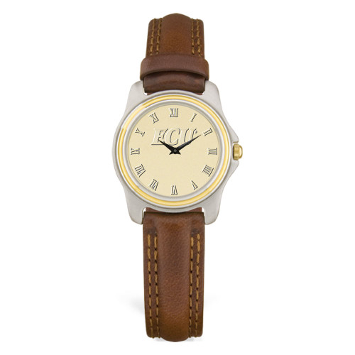 Stainless & Brown Leather Gold Face ECU Ladies Wristwatch