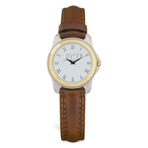 Stainless & Brown Leather Silver Face ECU Ladies Wristwatch