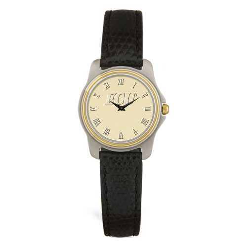 Stainless & Black Leather Gold Face ECU Ladies Wristwatch