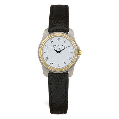 Stainless & Black Leather Silver Face ECU Ladies Wristwatch