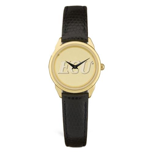 Gold ION & Black Leather ECU Ladies Wristwatch