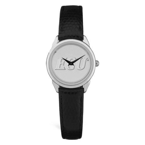 Silver Tone & Black Leather ECU Ladies Wristwatch
