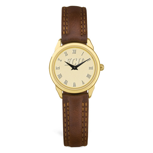 Gold ION & Brown Leather ECU Ladies Wristwatch