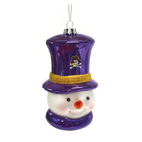 Frosted Glass ECU Snowman Ornament