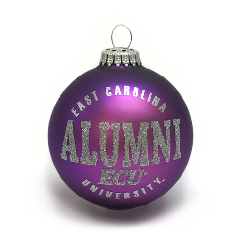 Purple ECU Alumni Glitter Globe Ornament