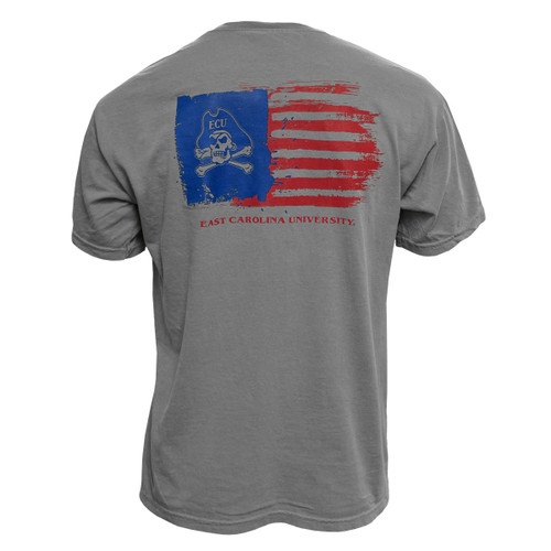 Grey Jolly Roger USA Flag Pocket Tee