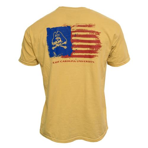 Mustard Gold Jolly Roger USA Flag Pocket Tee