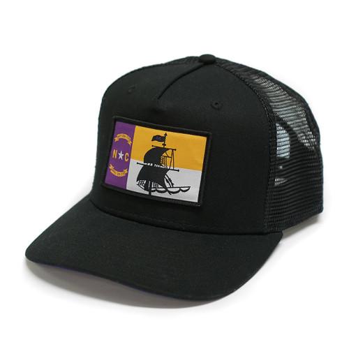 Black & Purple NC Pirate Trucker Cap