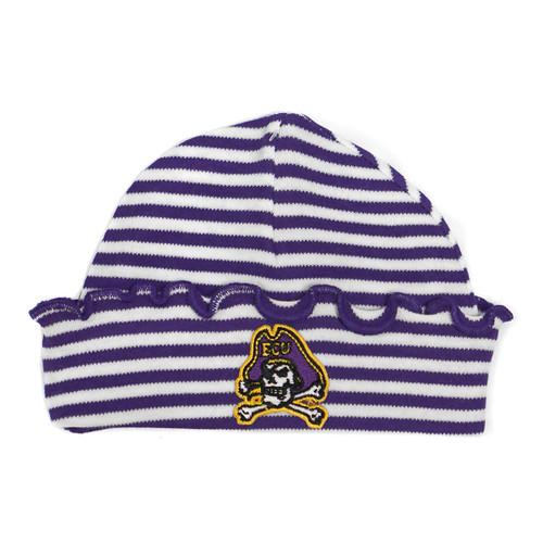 Purple & White Newborn Jolly Roger Ruffle Cap