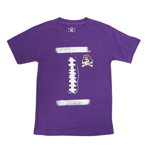 Purple Jolly Roger Football Laces Youth Tee