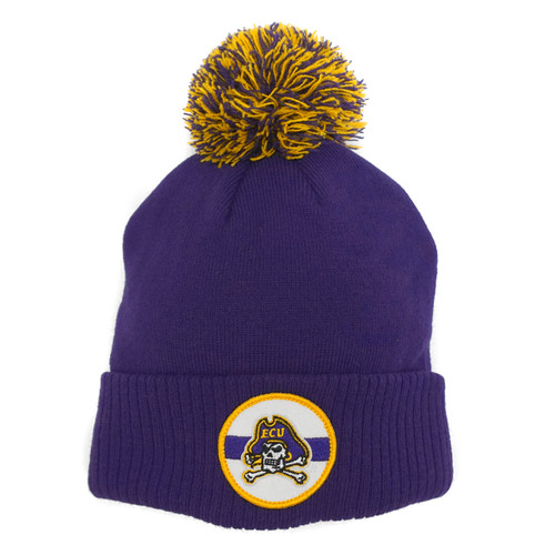 Purple Circle Patch ECU Pom Beanie