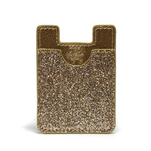 Gold Glitter Adhesive Mobile Wallet