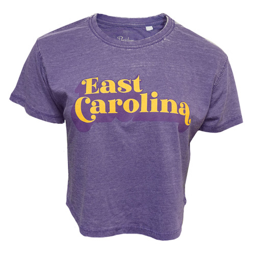 Tee Purple Crop 70s Font East Carolina