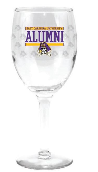 Wine Glass East Carolina Jolly Roger Alumni