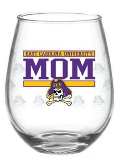 Wine Glass Stemless 15 oz.East Carolina MOM JR