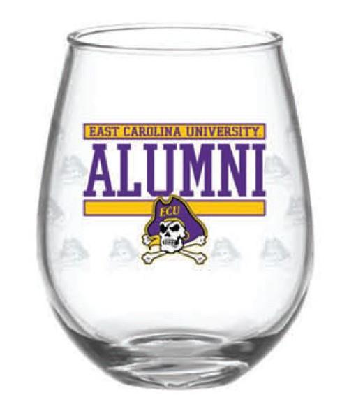 Wine Glass Stemless 15 oz Alumni JR