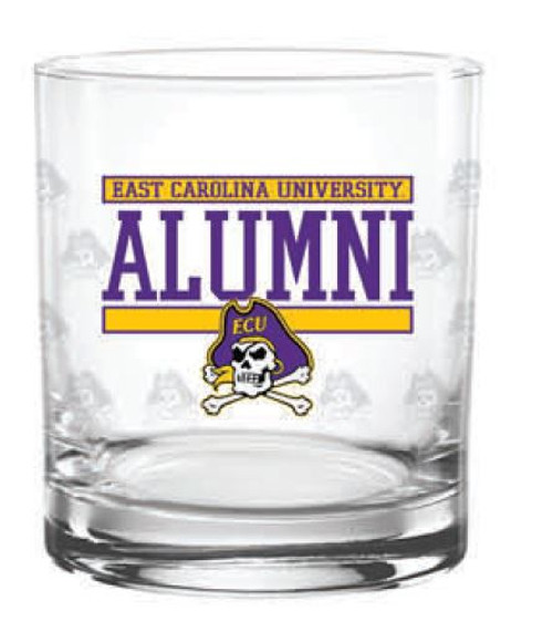 Rocks Glass East Carolina Jolly Roger  Alumni