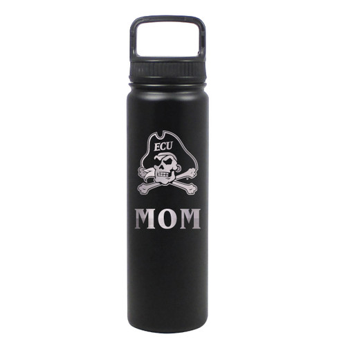 Water Bottle Mom Black Jolly Roger Stainless 24 oz