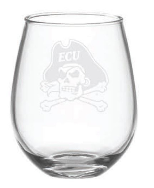 Wine Glass Stemless 15 oz Jolly Roger Etched
