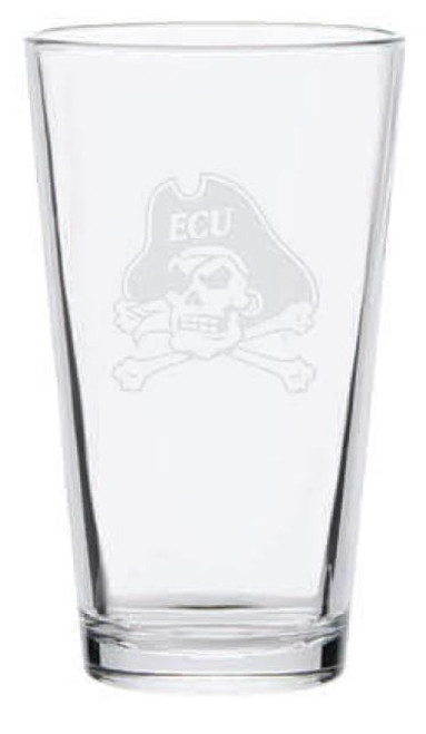 Pint Glass Jolly Roger Frost Etched
