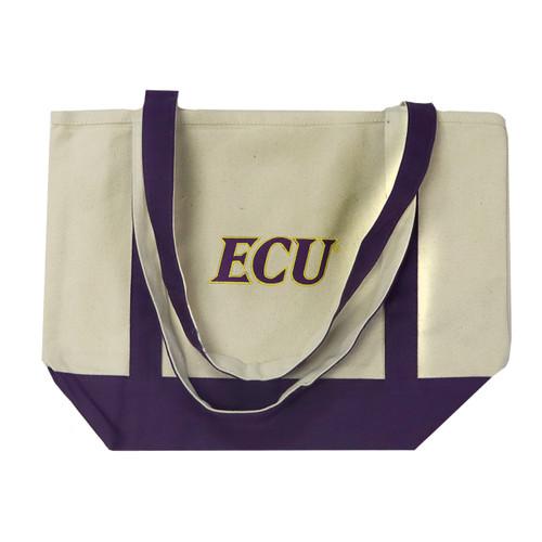 Canvas Tote Bag Purple Trim ECU Slant