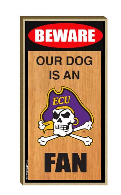 Sign Wood Beware Dog ECU Fan