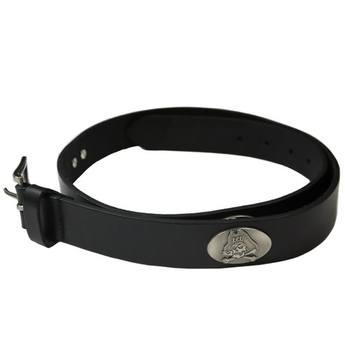 Black Leather Jolly Roger Concho Belt