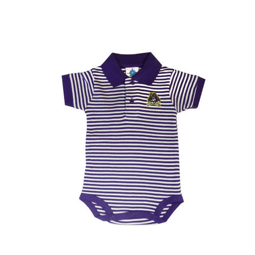 Purple and White Jolly Roger Polo Onesie