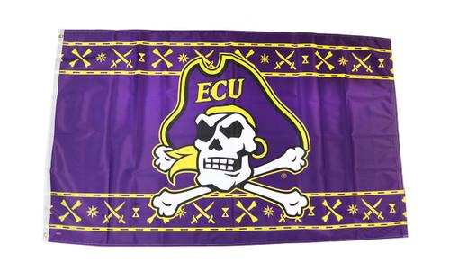 3 x 5 Purple Jolly Roger Icon Pattern ECU Flag